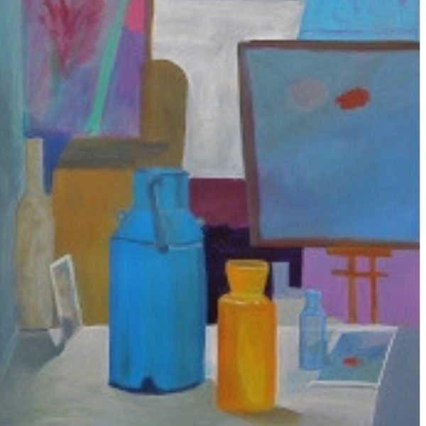 Painting of still life bottles and canvas