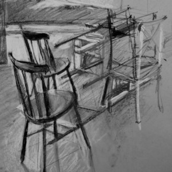 Charcoal drawing of chairs