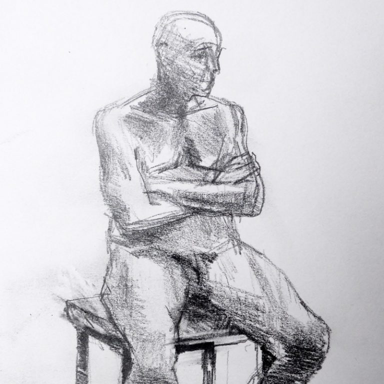 Pencil drawing of a nude on a stool