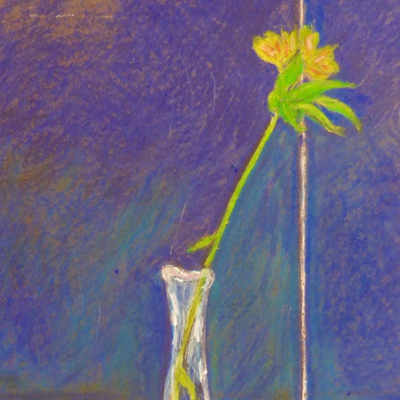 Pastel still life of a flower in a vase