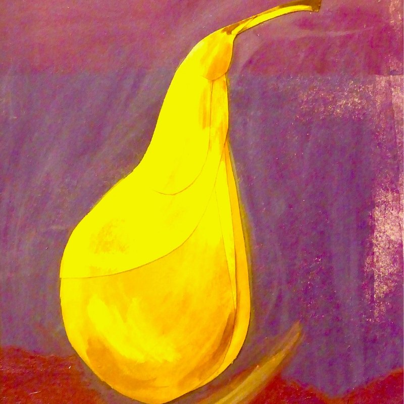 Painted pear against a purple background