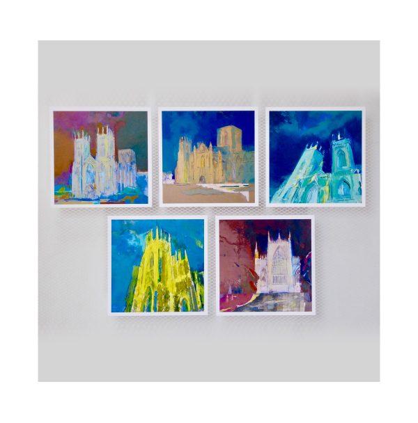 Minster postcards all five square